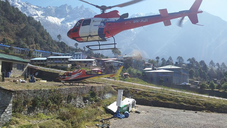Helicopter ride back to Kathmandu