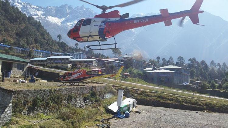 Helicopter ride back to Kathmandu