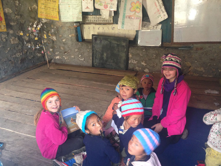 Aussie kids attending Ghunsa school for the day.