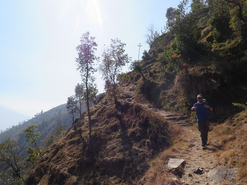 Andrew Stace on the trail from Bolgaon to Yangri