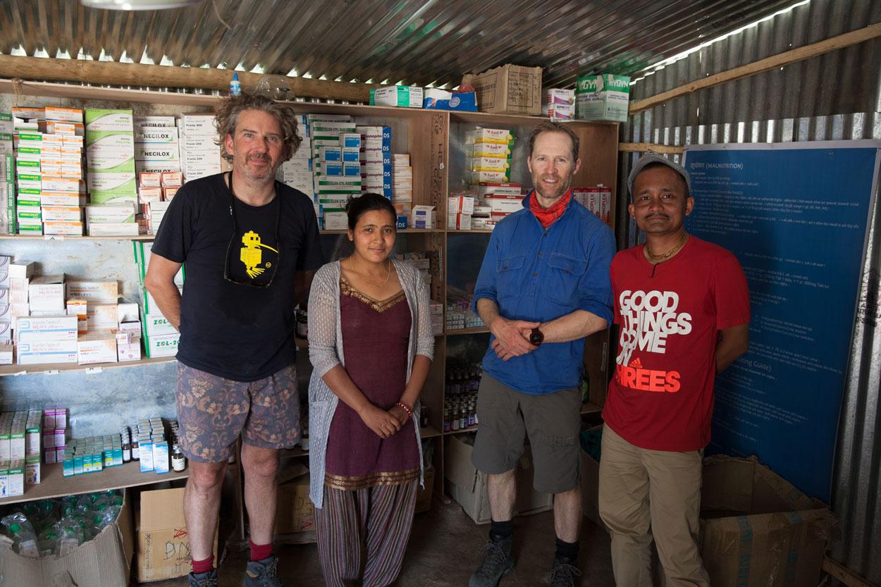 Charlie, Chris, Sourab at Bolgoan Health post