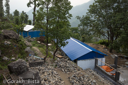 Rebuilding the Seti Devi school, view from higher grounds.