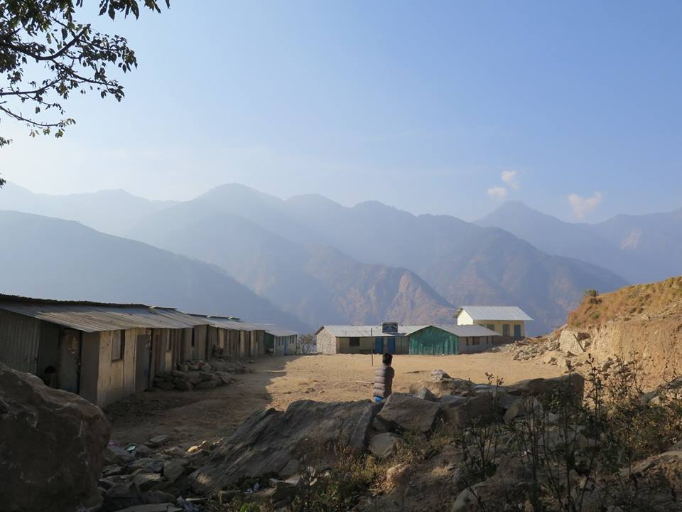 Bhotang school, 420 students, still in temporary learning centres.